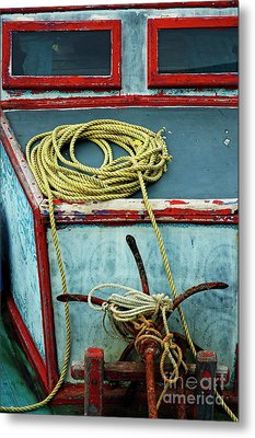 Ropes And Rusty Anchors On A Boat Deck Metal Print by Sami Sarkis