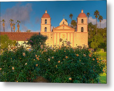 Rose Garden At Santa Barbara Mission Metal Print by Connie Cooper-Edwards