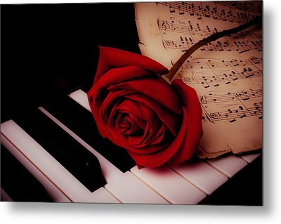 Rose With Sheet Music On Piano Keys Metal Print by Garry Gay