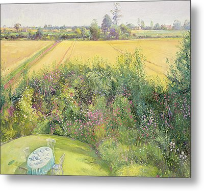 Roses And Cornfield Metal Print by Timothy Easton