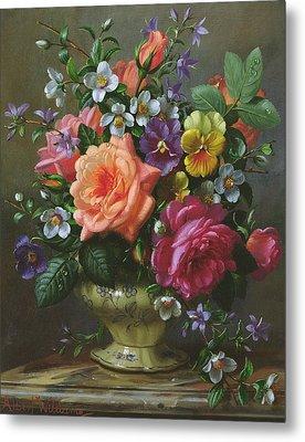 Roses And Pansies Metal Print by Albert Williams