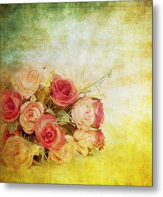 Roses Pattern Retro Design Metal Print by Setsiri Silapasuwanchai