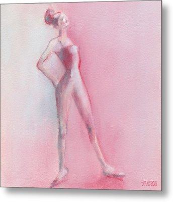 Rosy Pink Ballerina Metal Print by Beverly Brown Prints