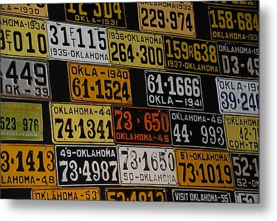Route 66 Oklahoma Car Tags Metal Print by Susanne Van Hulst