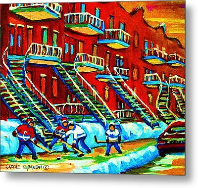 Rowhouses And Hockey Metal Print by Carole Spandau