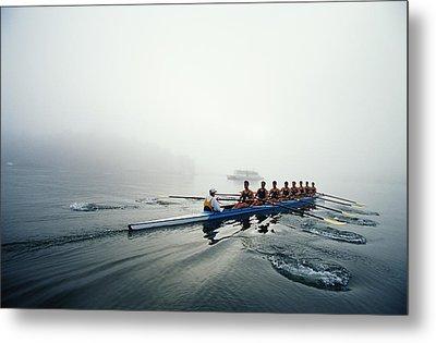 Rowing Team On Lake In Early Morning Fog Metal Print by Nick Wilson