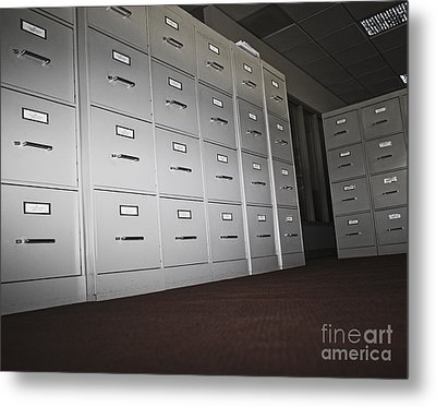 Rows Of Filing Cabinets Metal Print by Jetta Productions, Inc