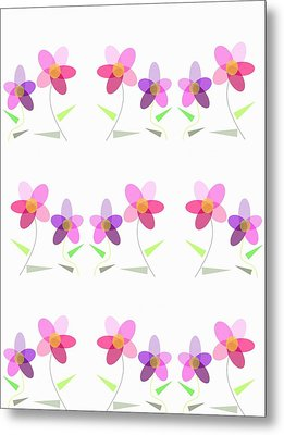 Rows Of Flowers Metal Print by Kathleen Sartoris