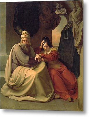 Royal Couple Mourning For Their Dead Daughter Metal Print by Carl Friedrich Lessing