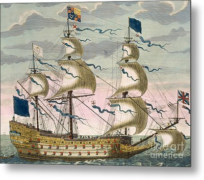Royal Flagship Of The English Fleet Metal Print by Pierre Mortier