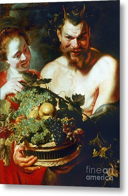 Rubens: Faun And Nymph Metal Print by Granger