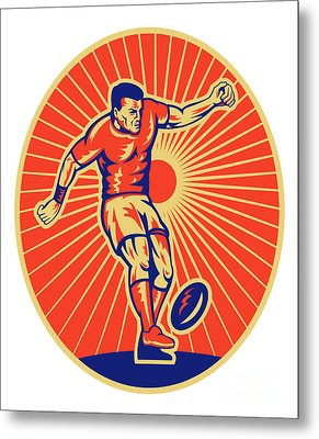 Rugby Player Kicking Ball Woodcut Metal Print by Aloysius Patrimonio