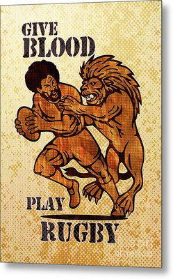 Rugby Player Running With Ball Attack By Lion Metal Print by Aloysius Patrimonio