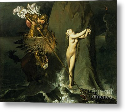 Ruggiero Rescuing Angelica Metal Print by Ingres