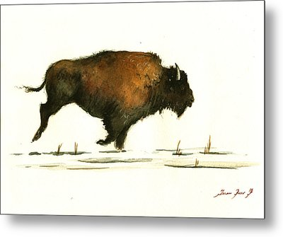 Running Buffalo Metal Print by Juan  Bosco