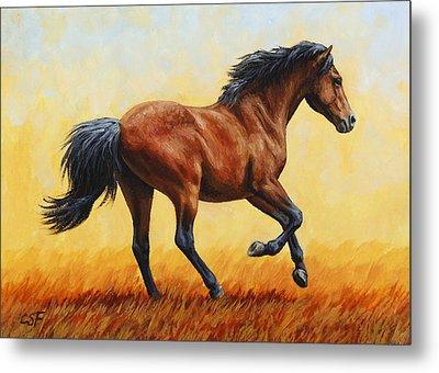 Running Horse - Evening Fire Metal Print by Crista Forest