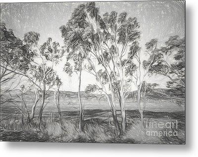 Rural Landscape Pencil Sketch Metal Print by Jorgo Photography - Wall Art Gallery