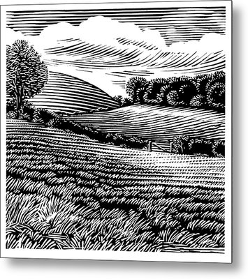 Rural Landscape, Woodcut Metal Print by Gary Hincks