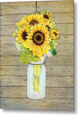 Rustic Country Sunflowers In Mason Jar Metal Print by Audrey Jeanne Roberts