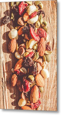 Rustic Dried Fruit And Nut Mix Metal Print by Jorgo Photography - Wall Art Gallery