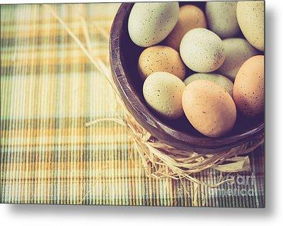 Rustic Eggs Metal Print by Cheryl Baxter