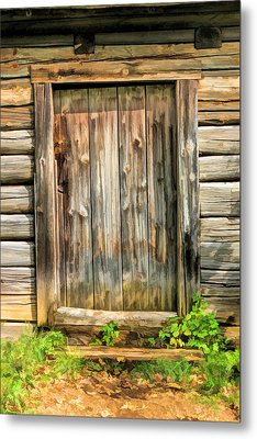 Rustic Wooden Door At Old World Wisconsin Metal Print by Christopher Arndt