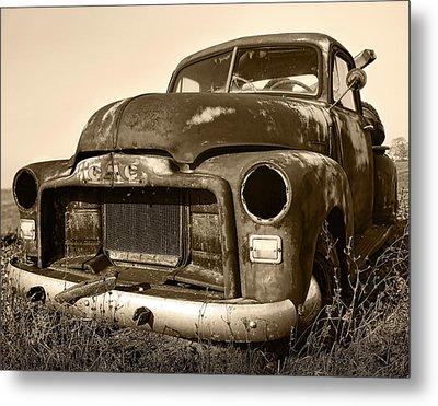 Rusty But Trusty Old Gmc Pickup Truck - Sepia Metal Print by Gordon Dean II