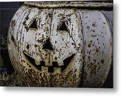 Rusty Metal Pumpkin Metal Print by Garry Gay