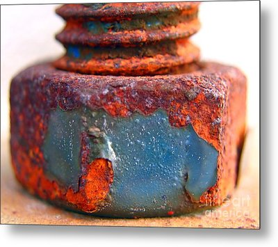 Rusty Screw And Bolt Metal Print by Yali Shi