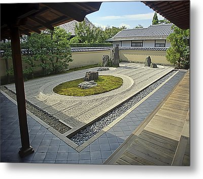 Ryogen-in Zen Rock Garden - Kyoto Japan Metal Print by Daniel Hagerman