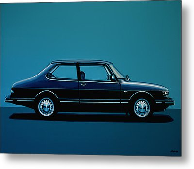 Saab 90 1985 Painting Metal Print by Paul Meijering