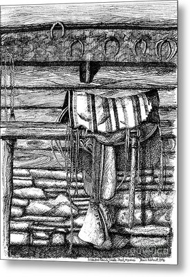 Saddle In Old Barn, Ready To Ride Metal Print by Dawn Boyer
