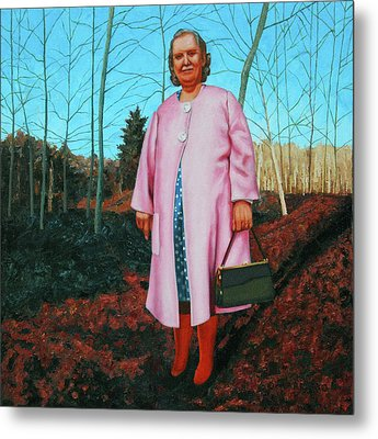 Sadie In Pink Metal Print by Allan OMarra