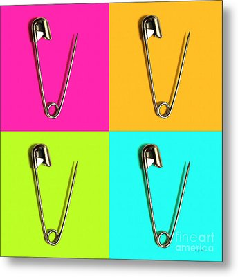 Safety Pin Pop Art Four 20161112 Metal Print by Wingsdomain Art and Photography