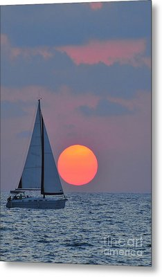 Sailboat At Sunset  Metal Print by Shay Levy
