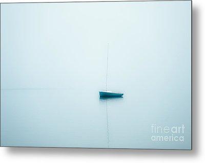Sailboat In Fog Metal Print by John Greim