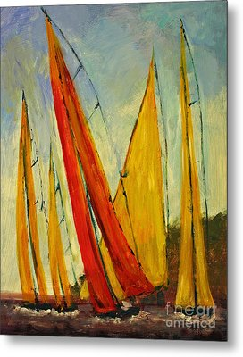 Sailboat Studies 2 Metal Print by Julie Lueders