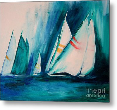 Sailboat Studies Metal Print by Julie Lueders