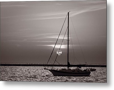 Sailboat Sunrise In B And W Metal Print by Steve Gadomski