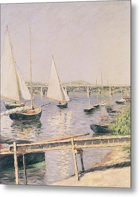 Sailing Boats At Argenteuil Metal Print by Gustave Caillebotte