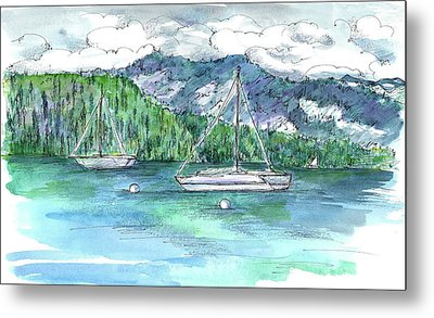 Sailing Lake Tahoe Metal Print by Cathie Richardson