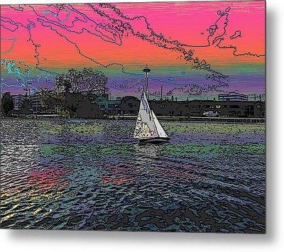 Sailing South Lake Union Metal Print by Tim Allen