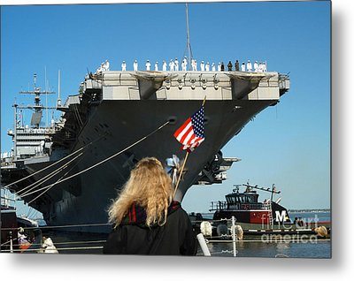 Sailors Aboard Aircraft Carrier Uss Metal Print by Stocktrek Images