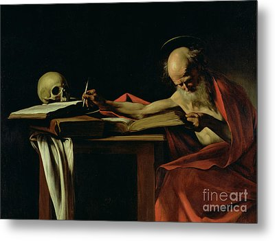 Saint Jerome Writing Metal Print by Caravaggio
