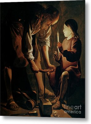 Saint Joseph The Carpenter  Metal Print by Georges de la Tour