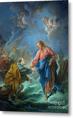 Saint Peter Invited To Walk On The Water Metal Print by Francois Boucher