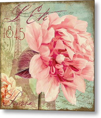 Saisons Fleurs Pink Metal Print by Mindy Sommers