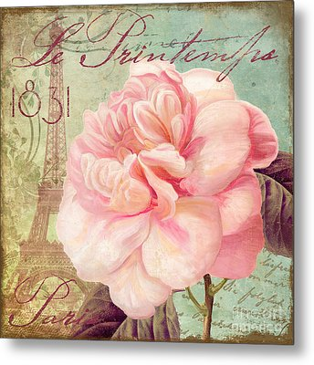 Saisons Pink Peony Rose Metal Print by Mindy Sommers