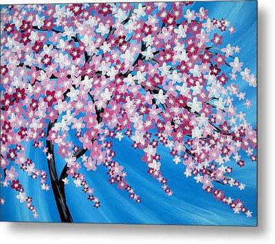 Sakura Cascade Metal Print by Cathy Jacobs