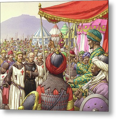 Saladin Orders The Execution Of Knights Templars And Hospitallers  Metal Print by Pat Nicolle